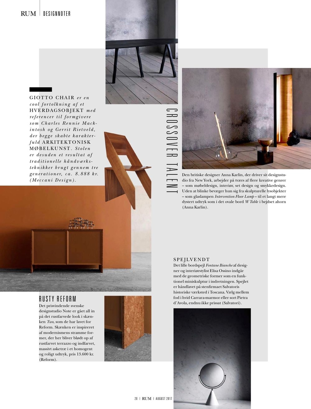 RUM Magazine / August 2017 Ostrea Fan Candleholder showcased with Reform