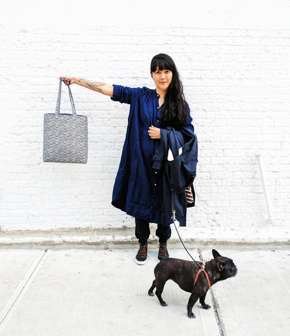 Sunday morning in Brooklyn, walking The Goose and showing off my new seigaiha bag from porto.
