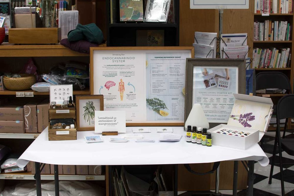 The display + sniff table, complete with terpene vials, Patent #6630507 prints, information on the endocannabinoid system & terpenes, and the full Young Living Starter Kit