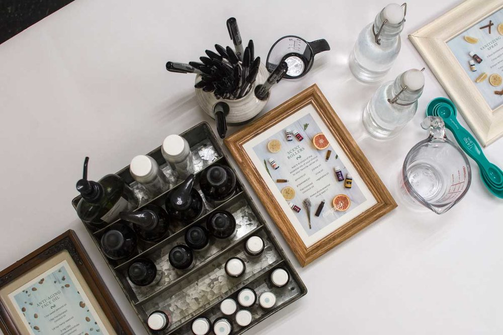 All supplies were labeled with their therapeutic properties so that guests could become familiar with the benefits of various ingredients and choose what works best for them