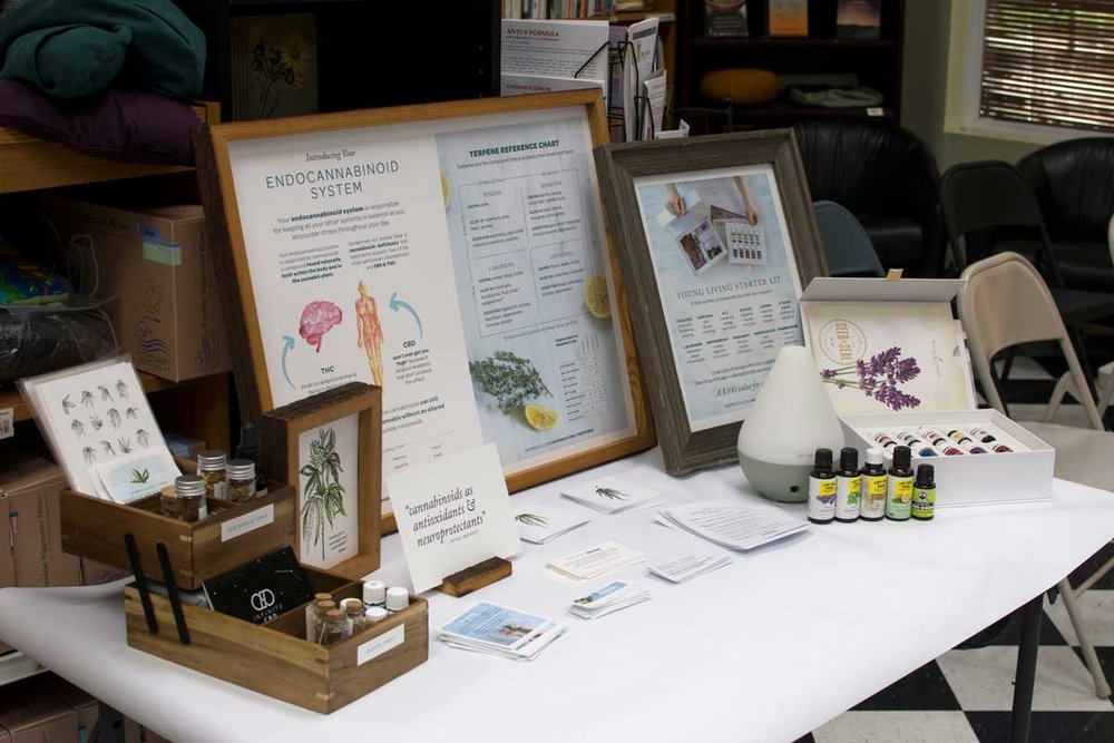 Guests were encouraged to explore our collection of informational materials + scents