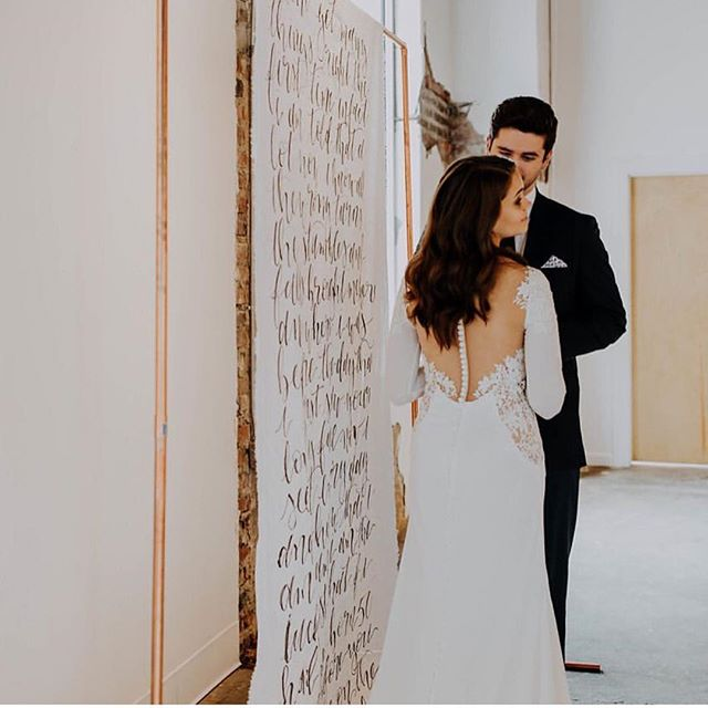 An epic backdrop for the win! These custom calligraphy backdrops are beautiful hanging - or as aisle runners! @dearlycreativeco @byhaleyrose @7eastkc