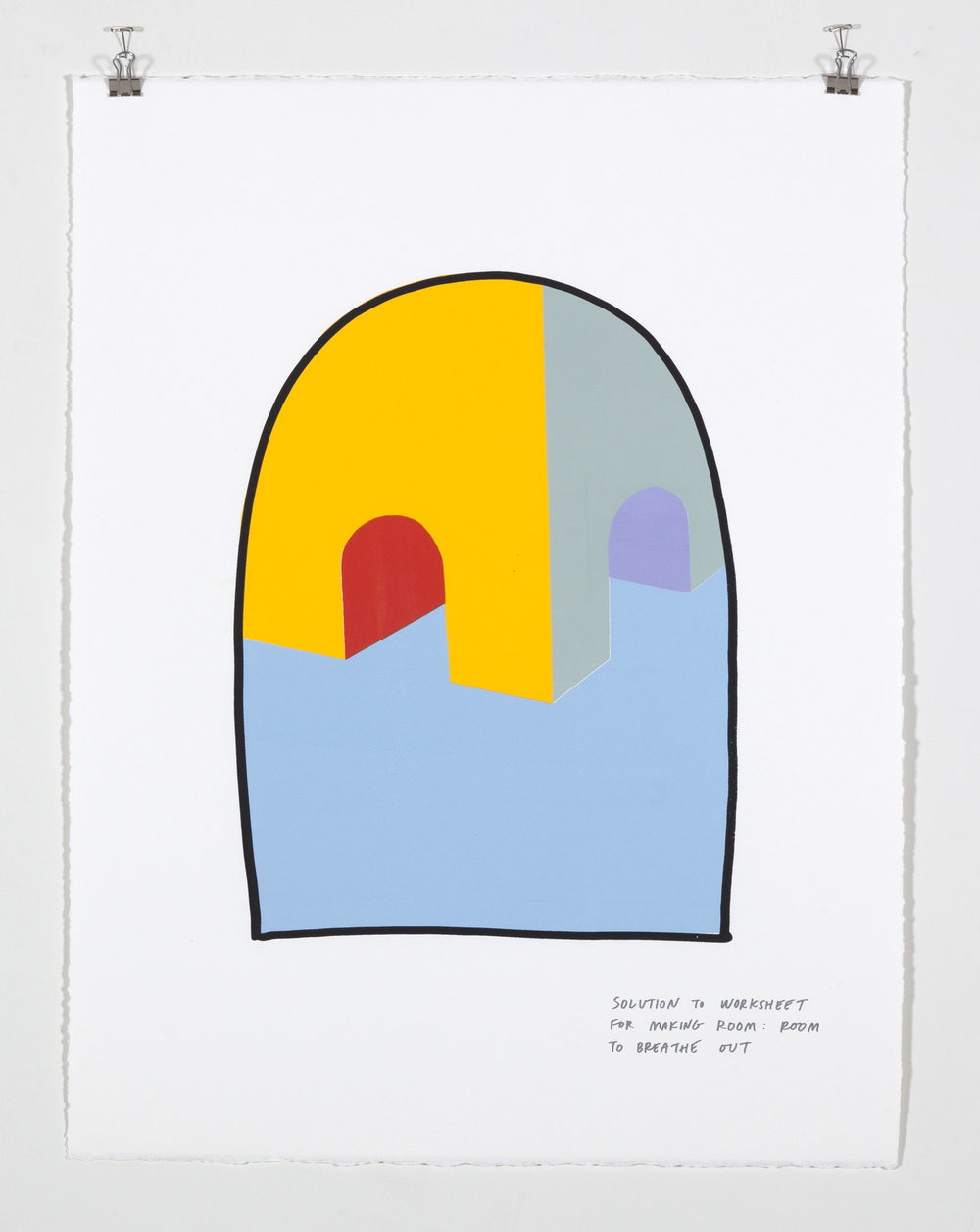Solution to Worksheet for Making Room: Room to Breathe Out,  2018  Seven color silkscreen print on paper 19 7/8 x 25 7/8 inches