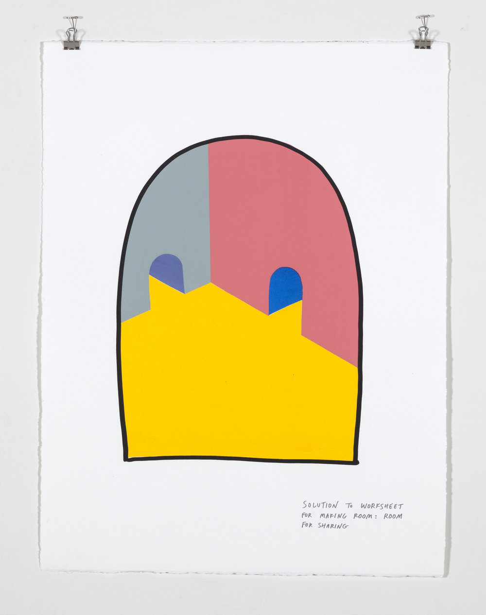 Solution to Worksheet for Making Room: Room for Sharing,    2018  Seven color silkscreen print on paper 19 7/8 x 25 7/8 inches