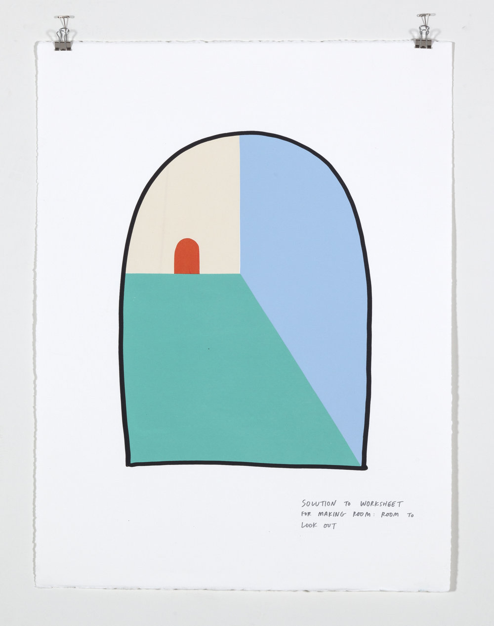 Solution to Worksheet for Making Room: Room to Look Out,  2018  Six color silkscreen print on paper 19 7/8 x 25 7/8 inches