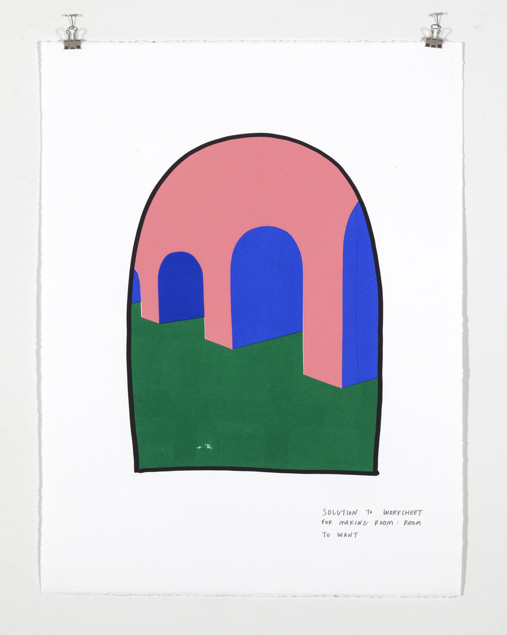 Solution to Worksheet for Making Room: Room to Want,  2018  Five color silkscreen print on paper 19 7/8 x 25 7/8 inches