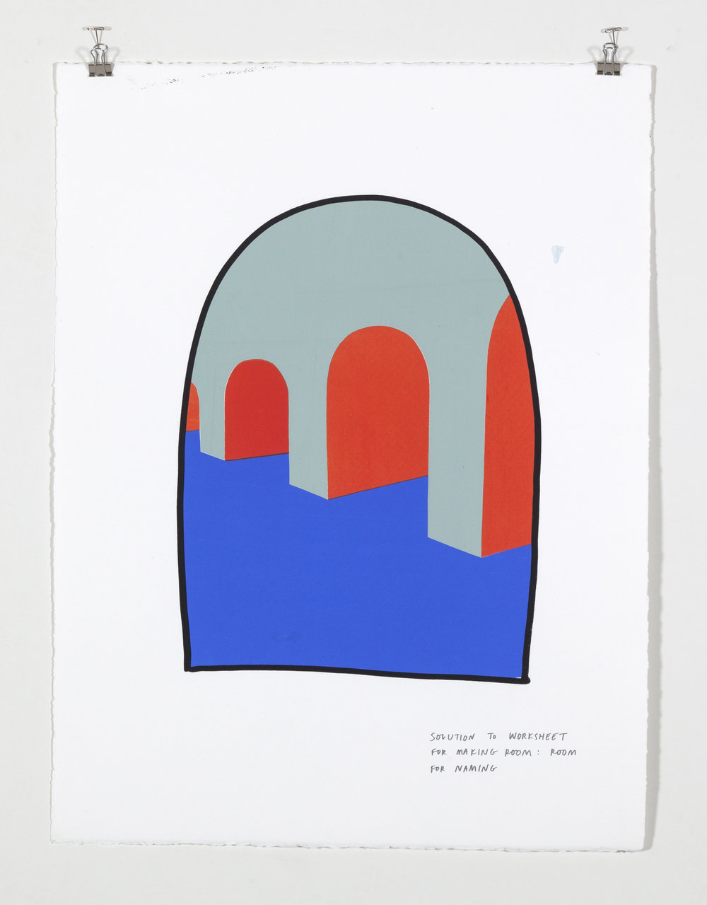 Solution to Worksheet for Making Room: Room for Naming,  2018  Five color silkscreen print on paper 19 7/8 x 25 7/8 inches