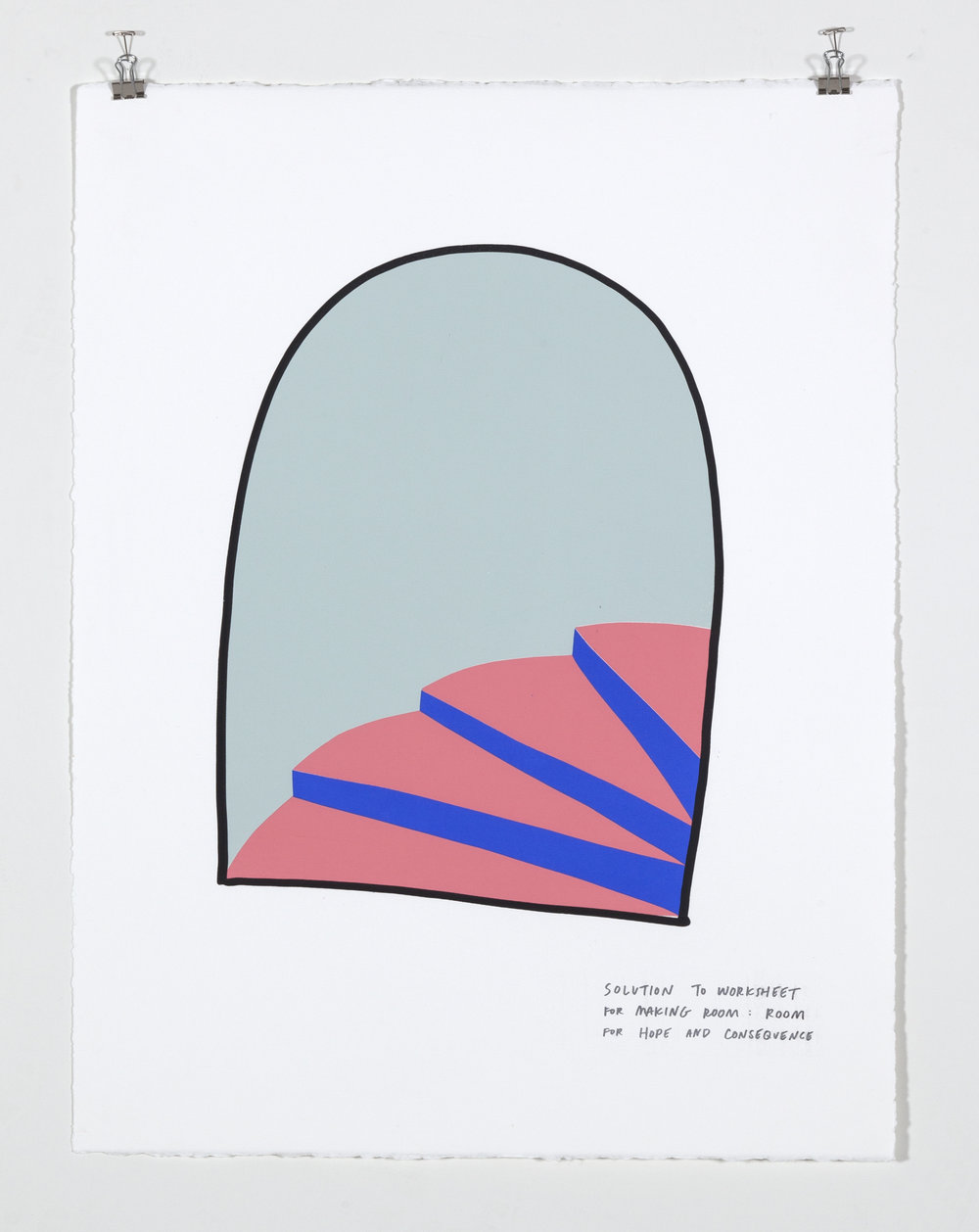 Solution to Worksheet for Making Room: Room of Hope and Consequence,  2018  Five color silkscreen print on paper 19 7/8 x 25 7/8 inches