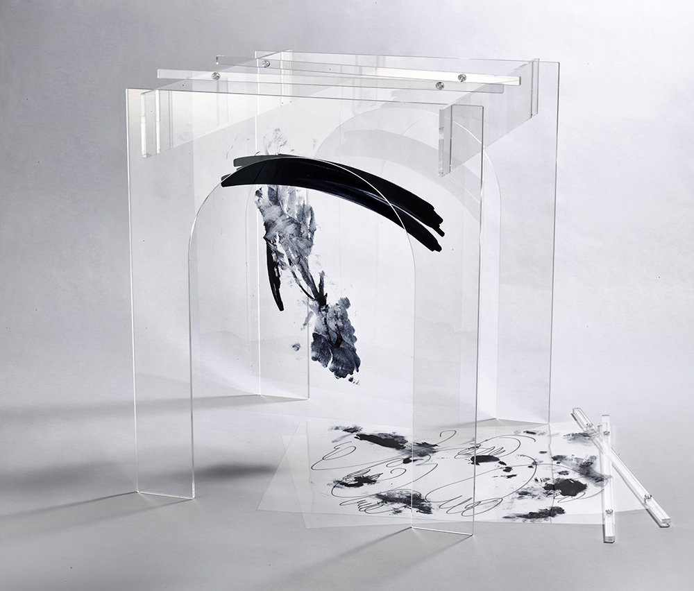 Theatre , 2015  Plexiglass, acrylic hardware, mylar, ink 17 x 20 x 20 inches