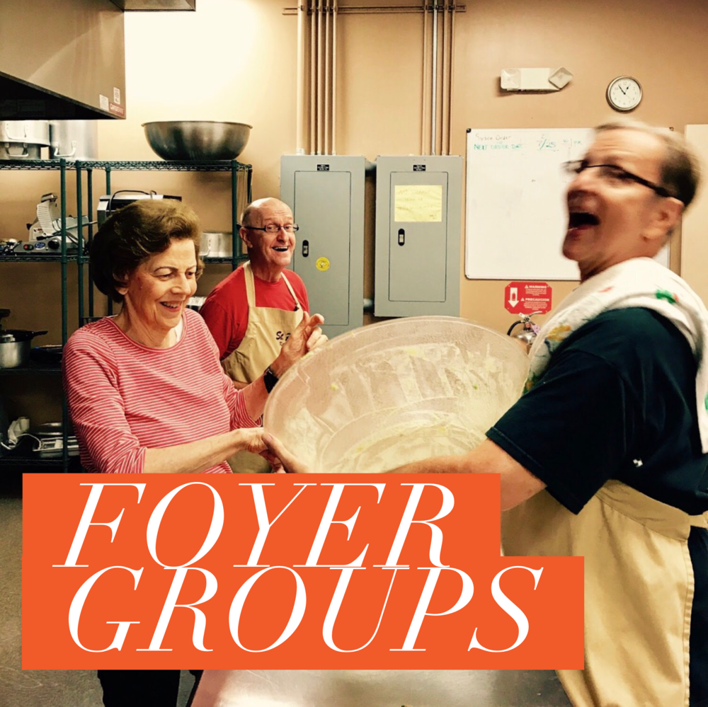 Foyer Groups - A simple meal ($5) provides a great way to meet others and spend some uninterrupted time chatting.  To learn more. Sign-ups are for new and return Foyer Members. Contact Marion Fleming