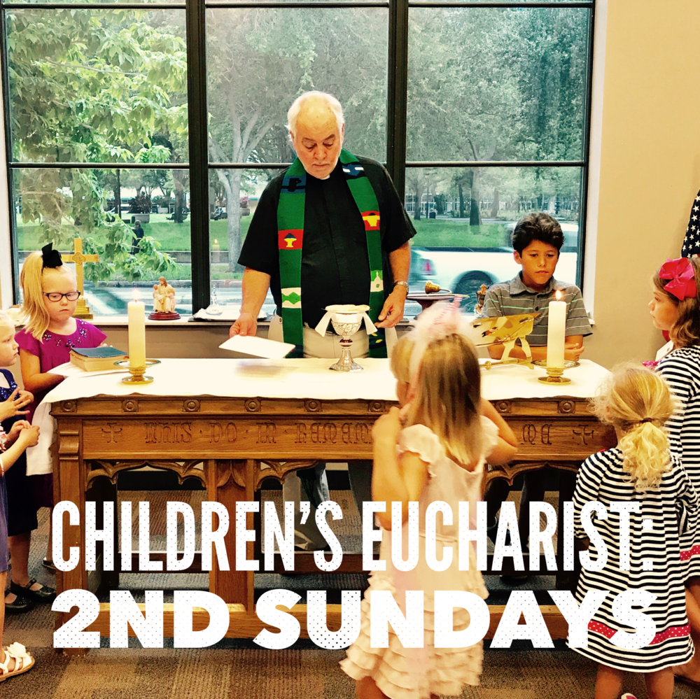 Children's Eucharist - Every 2nd Sunday in the Children's Chapel, children are invited to participate in Children's Eucharist: an integral heart of the Episcopal liturgy and life. They remain in Children's Chapel for the entirety of the 10:15 service and join their families at coffee hour.