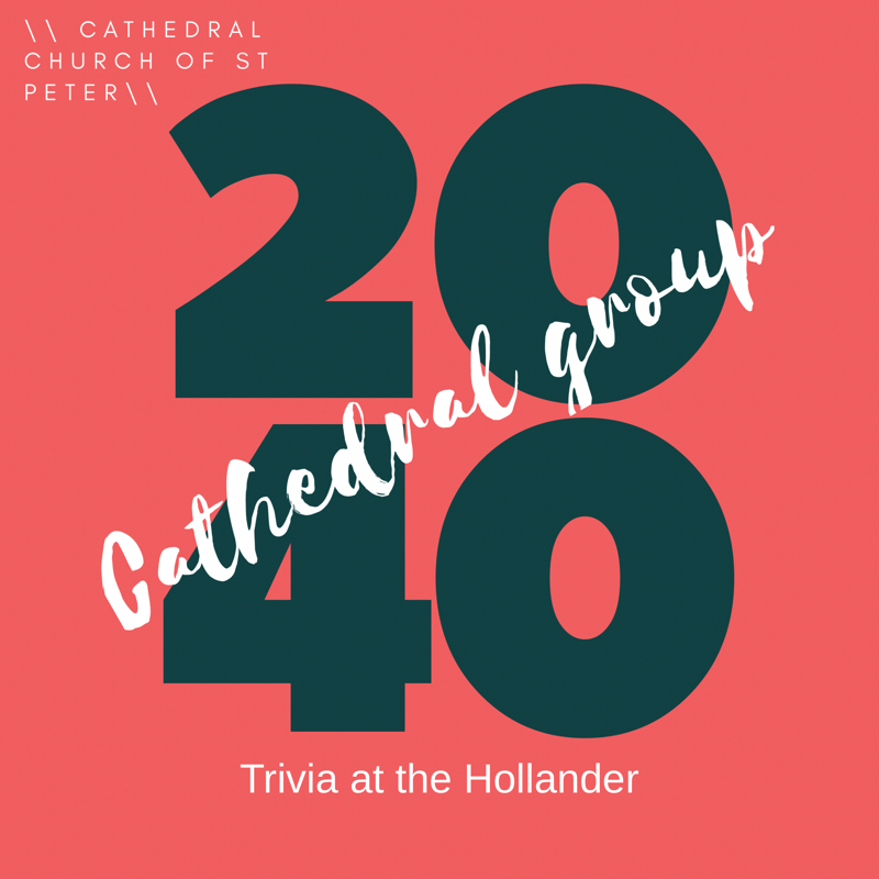 Trivia! - Join the Cathedral 20/40s group on 2nd Sunday evenings-Trivia is at the Hollander Hotel Downtown St Petersburgfrom 6-8PM. Child care available upon request. Contact Katie