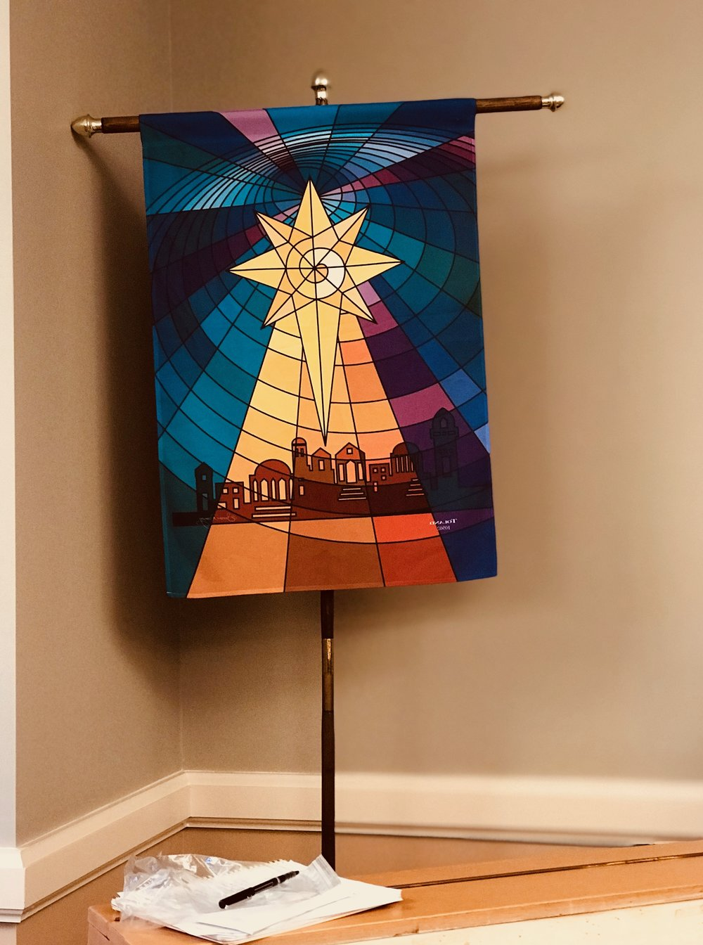 The banner carried in the Christmas Pageant