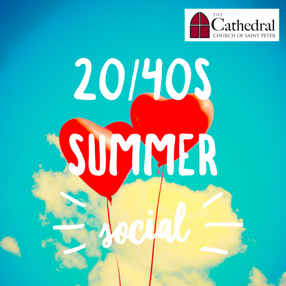 Summer Social - Let's get together for a pool party! Location TBD. The 20/40s Facebook page will have the most up-to-date info. Email Emily Walker