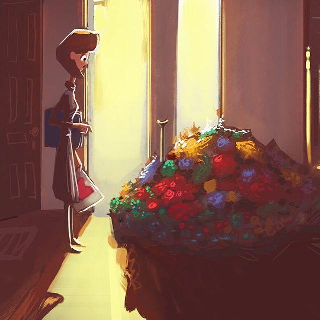 """Delivery for Miss Pashnovnikov."" #mikescrazyideas #michaelmercerart #flowers #truestory"