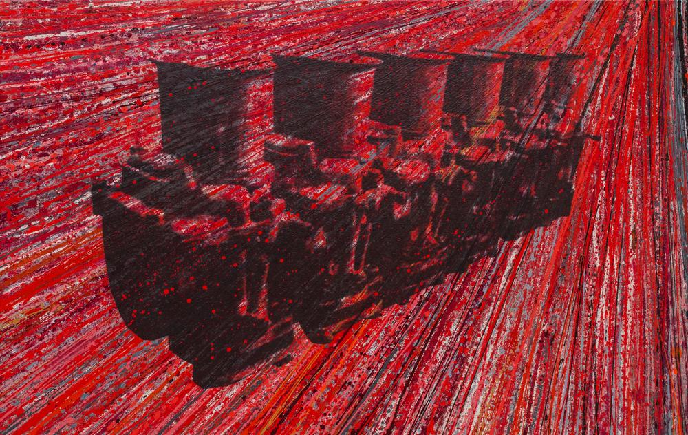 """Ferrari 250   Acrylic & Print on Canvas, 58"""" x 91"""""""