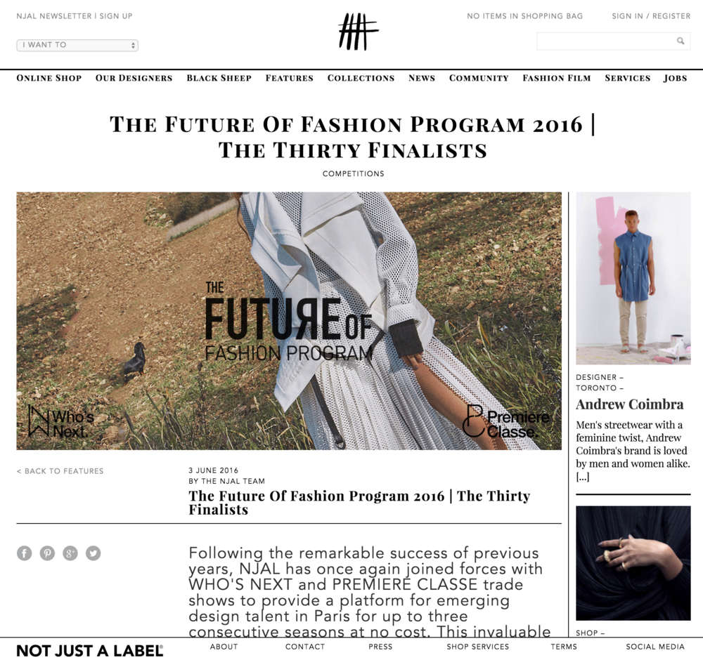 Winner of Future of Fashion Program