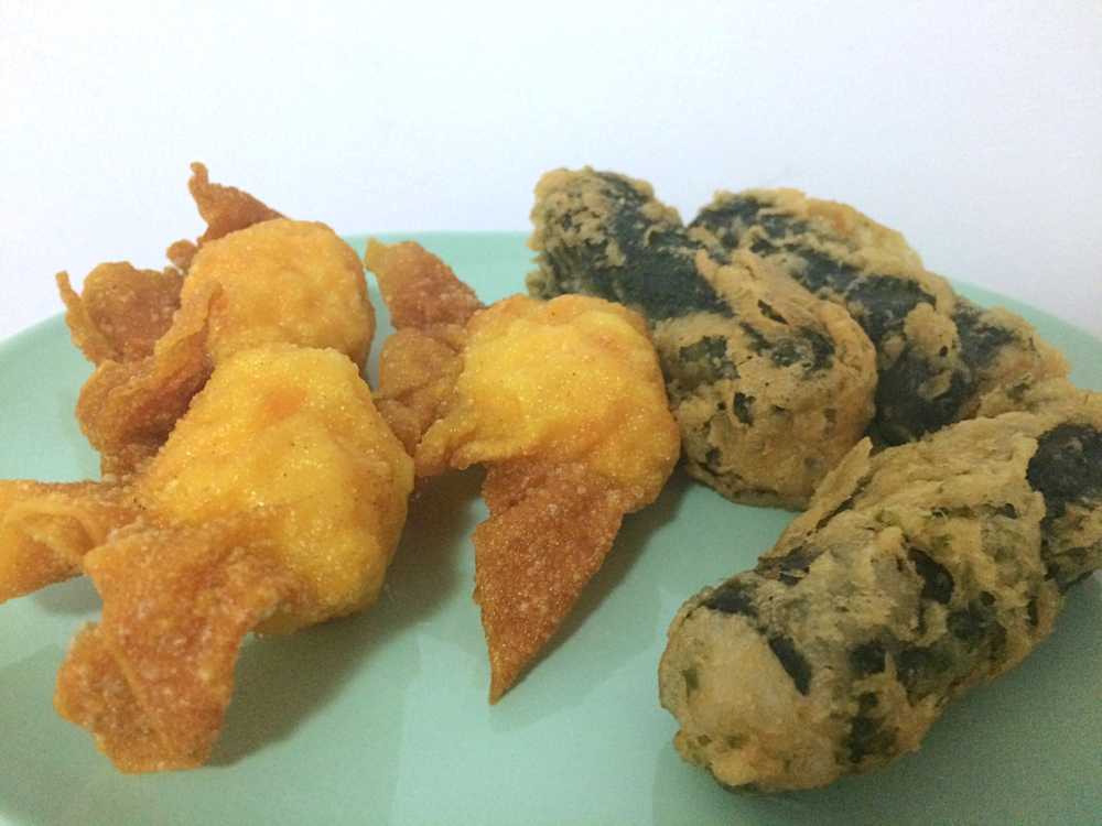 Fried Prawn Wantons and Crab and Sea-weed Dim Sum