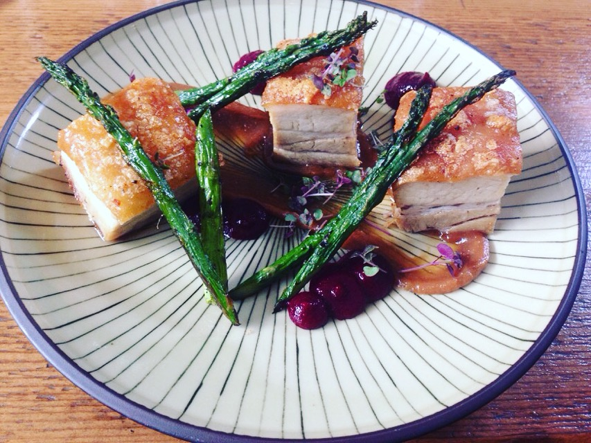 Pork-belly with miso caramel, beetroot gel and chargrilled asparagus