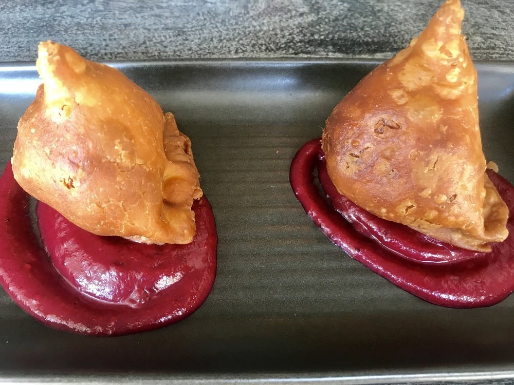 Wagyu Beef Samosas, roast cumin, cloves and beetroot ketchup