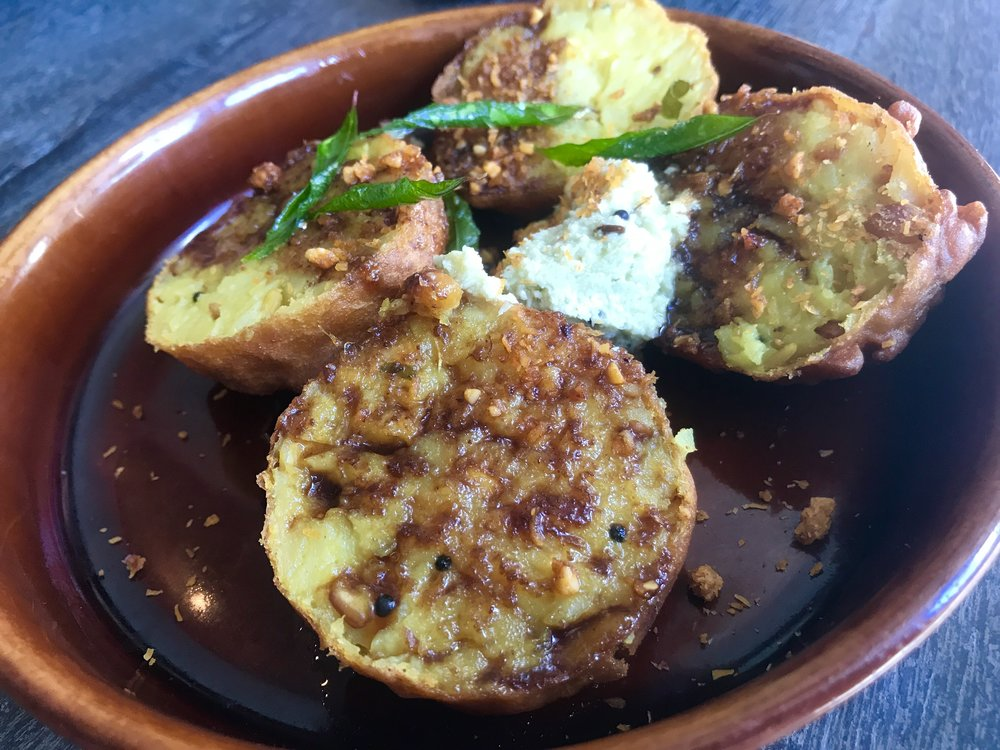 Bindas Boonda - curry leaf potato, chickpea shell, roast garlic, coconut, chill and peanut ghati chutney
