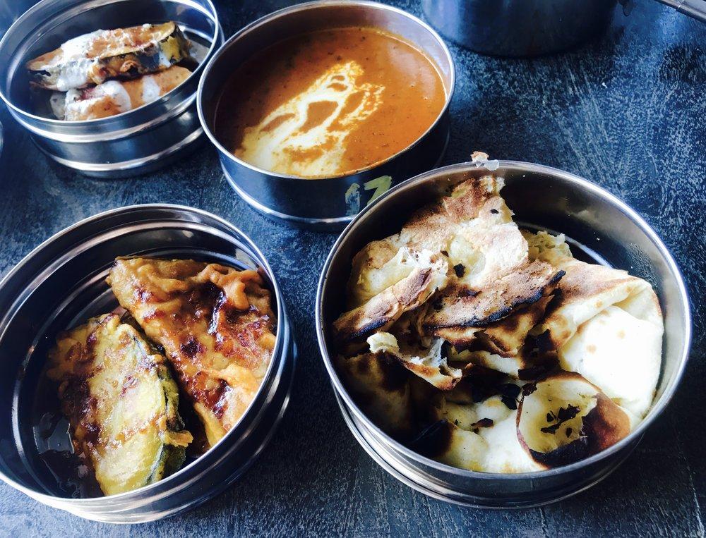 Vegetarian - Eggplant pakora, black dal, naan and rice