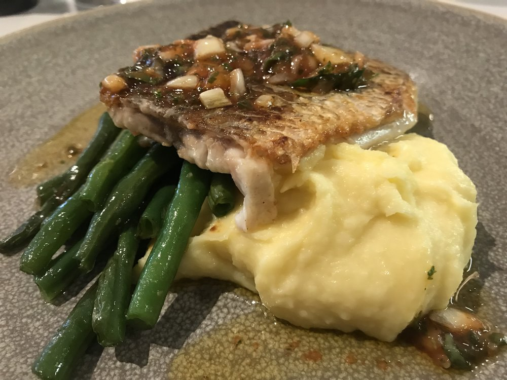 Barramundi, Mash and Green Beans