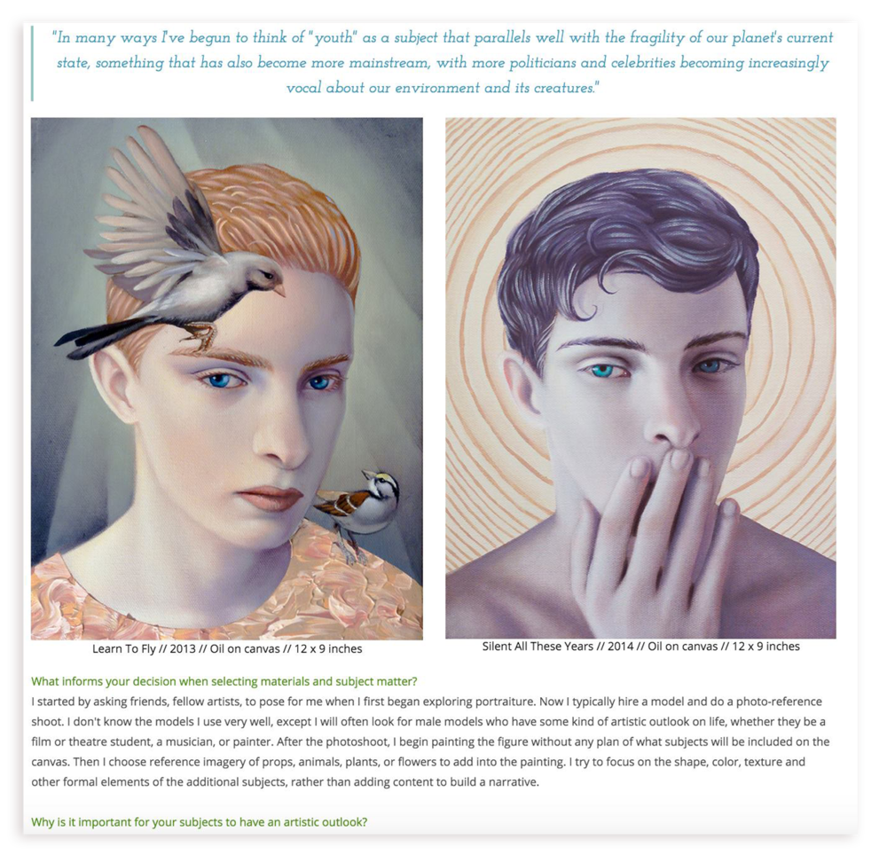 Oil paintings featured by   Venison Magazine  . Interview by Peggy Corvette.   Read full interview