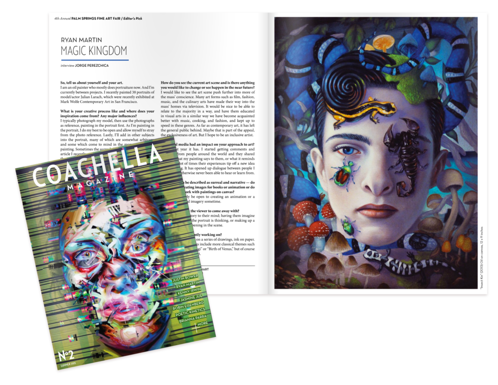 Oil paintings featured in   Coachella Magazine,   and interview.