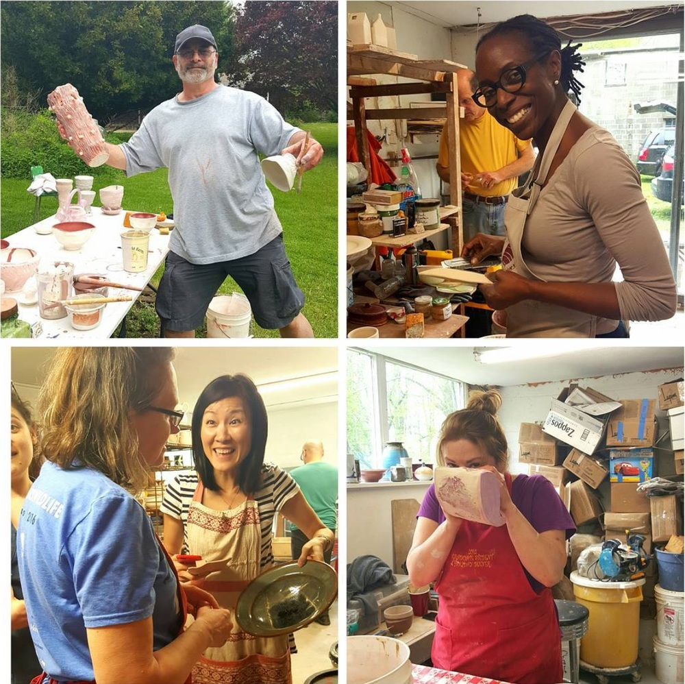 A great day of glazing at David Frank Pottery in Guilford, Ct., just one of the many field trips from Mugi Pottery.
