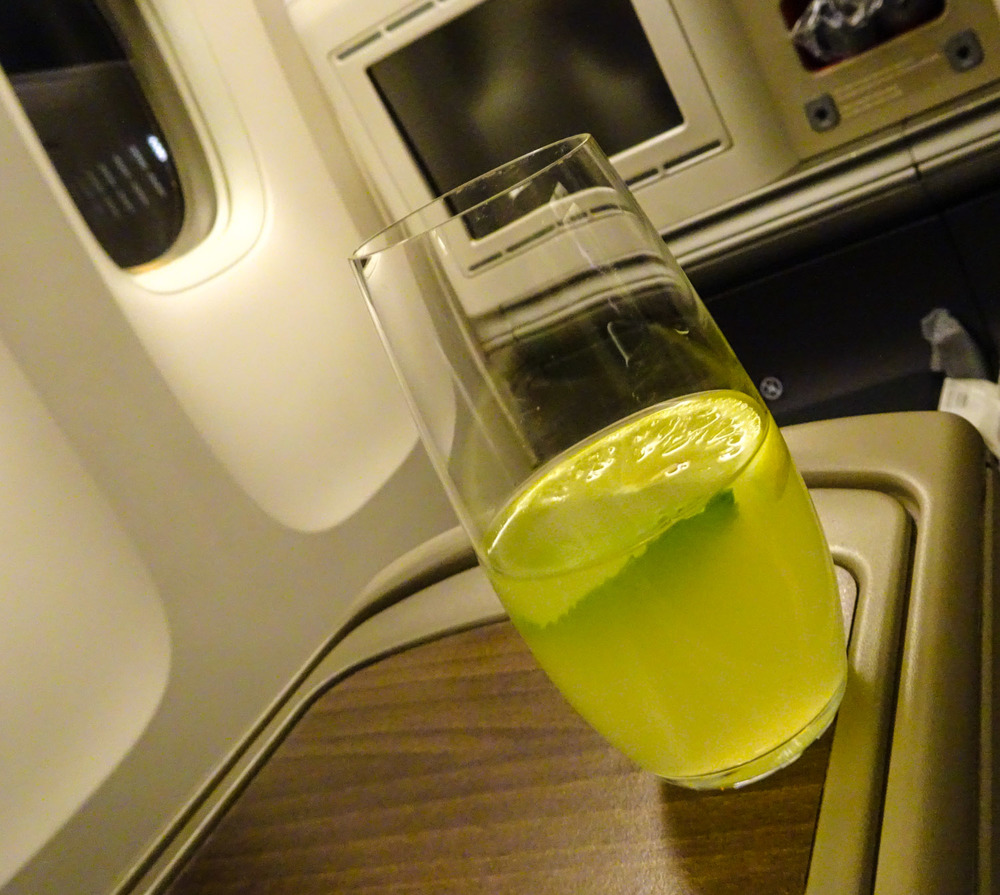 Pre-departure beverage Turkish Airlines 777   Photo:  Calvin Wood
