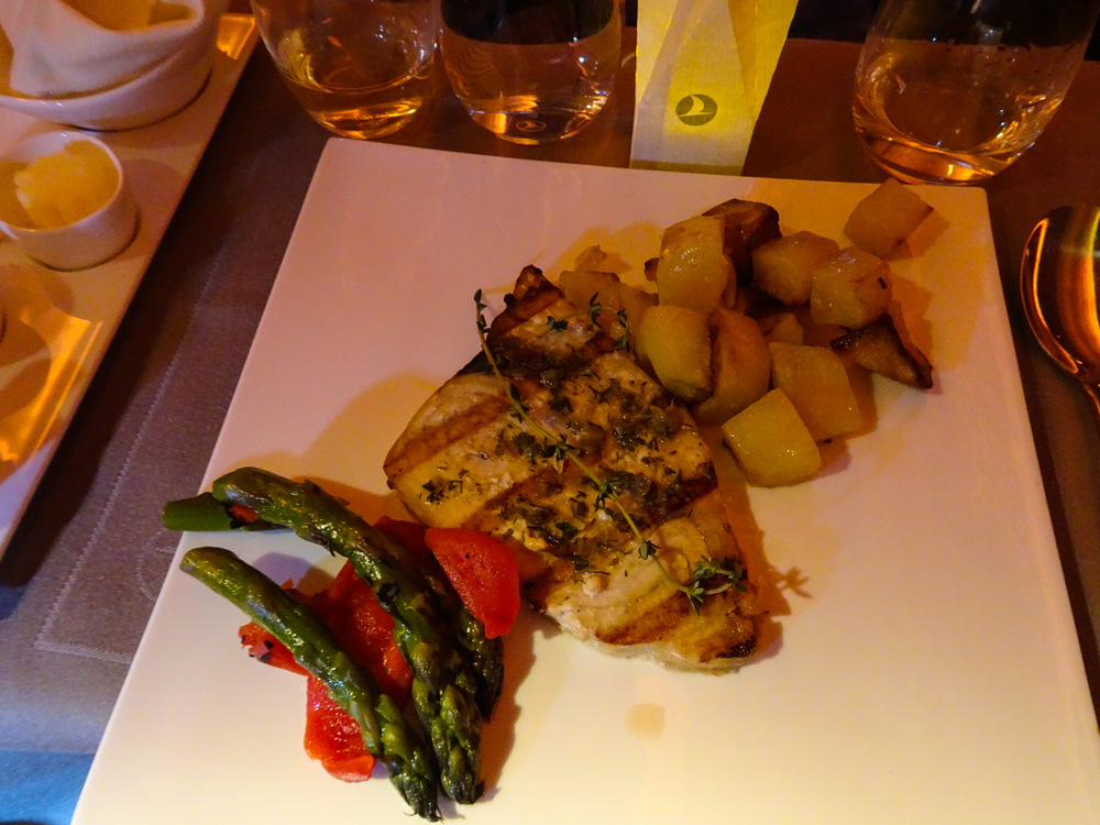 Main Course - Sword Fish Business Class Turkish Airlines   Photo:  Calvin Wood
