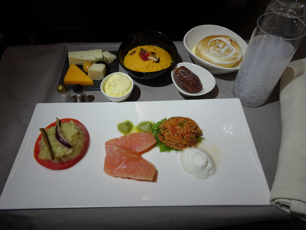 Potpourri of Meze - Turkish Airlines A321 Business Class   Photo:  Calvin Wood