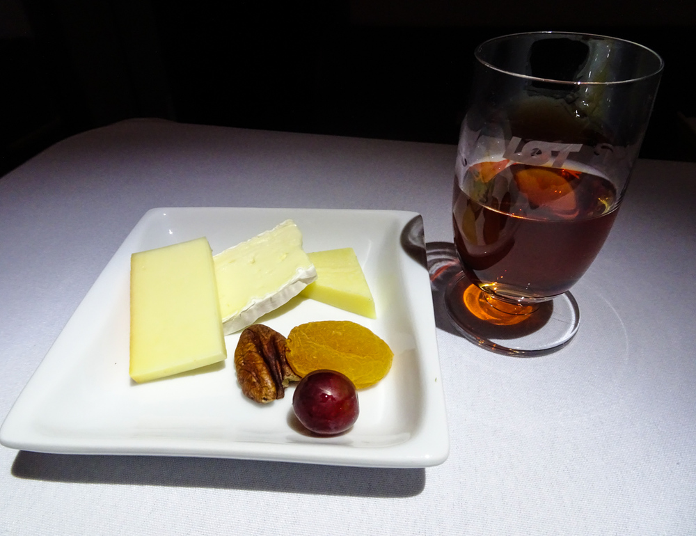 LOT Business Class - Cheese and Mead   Photo:  Calvin Wood