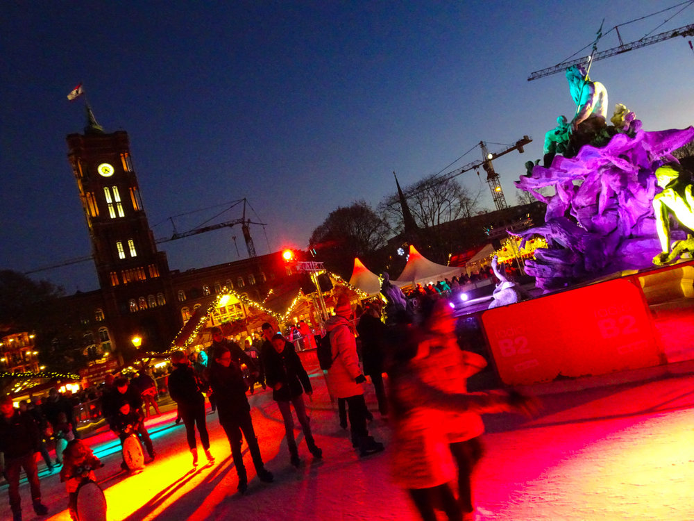 Skating in front of the Rotes Rathaus Berlin Christmas Markets   Photo:  Calvin Wood