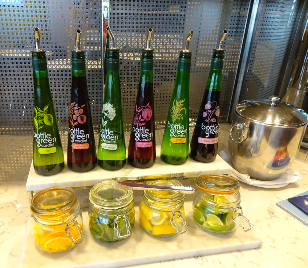Water Enhancers - United Club Heathrow    Photo:  Calvin Wood