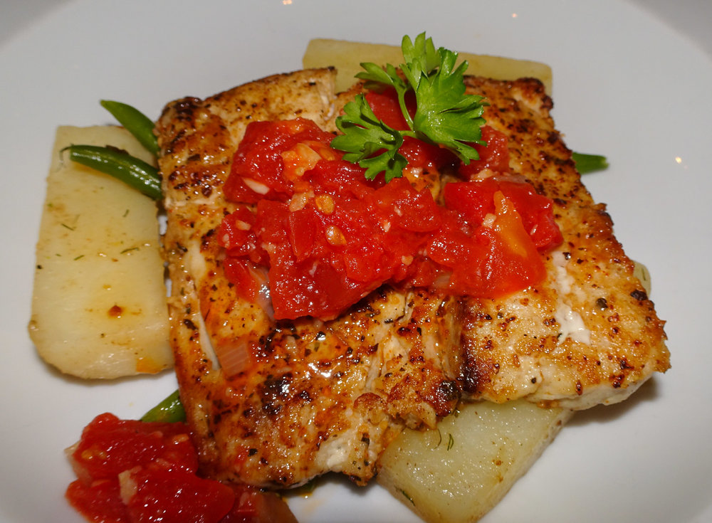 Corvina - Main Course for Dinner - NCL Gem   Photo:  Calvin Wood