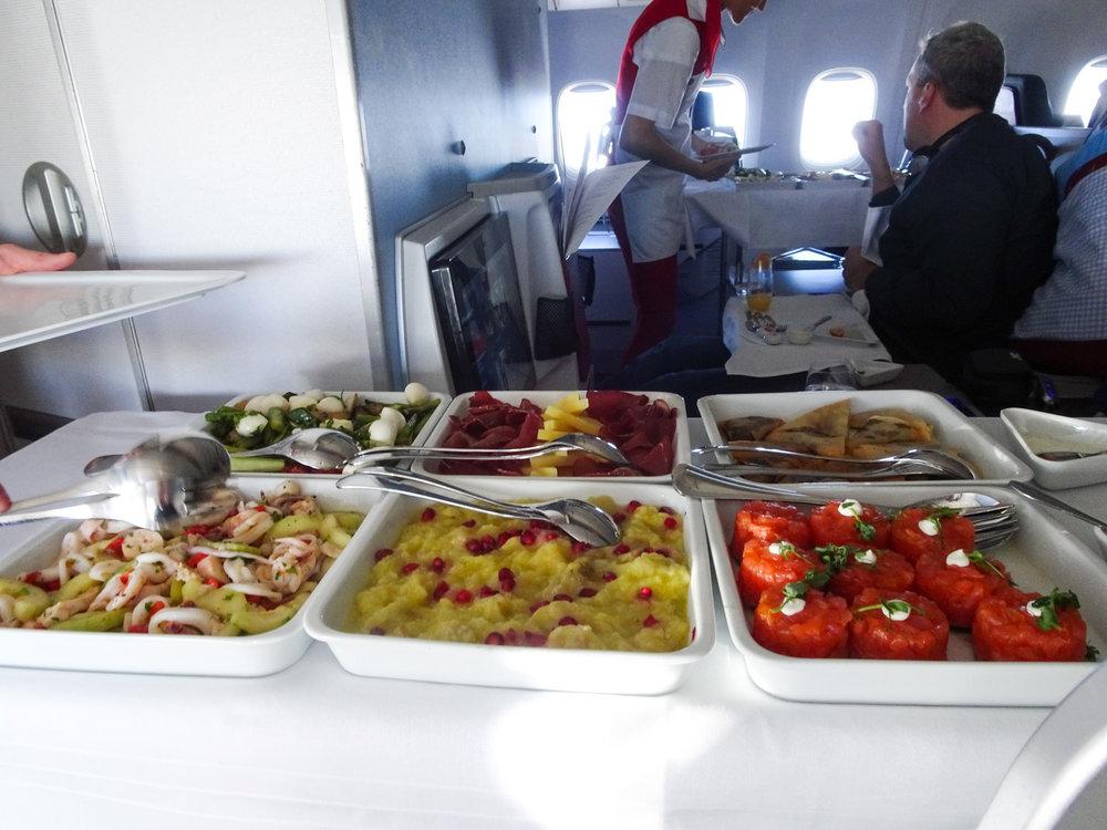 Appetizer Food Cart - Austrian Airlines Business Class  Photo: Calvin Wood