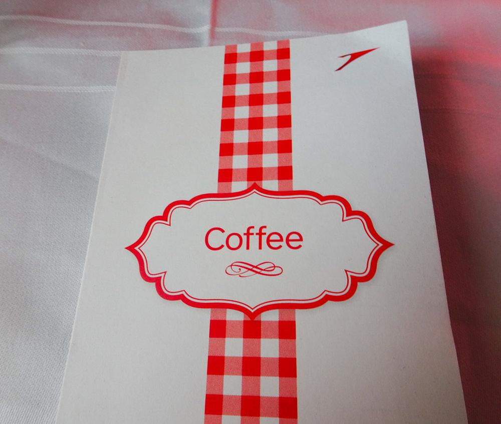 Coffee Menu - Austrian Airlines Business Class  Photo: Calvin Wood