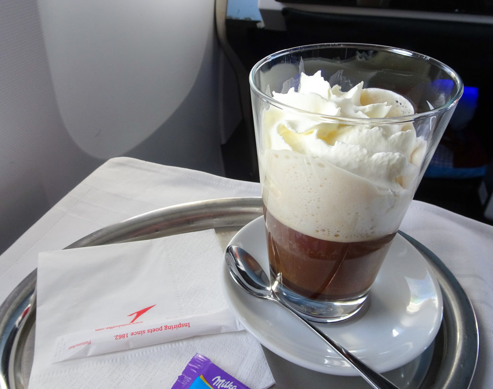 Viennese Coffee with Cognac - Austrian Airlines Business Class   Photo:  Calvin Wood