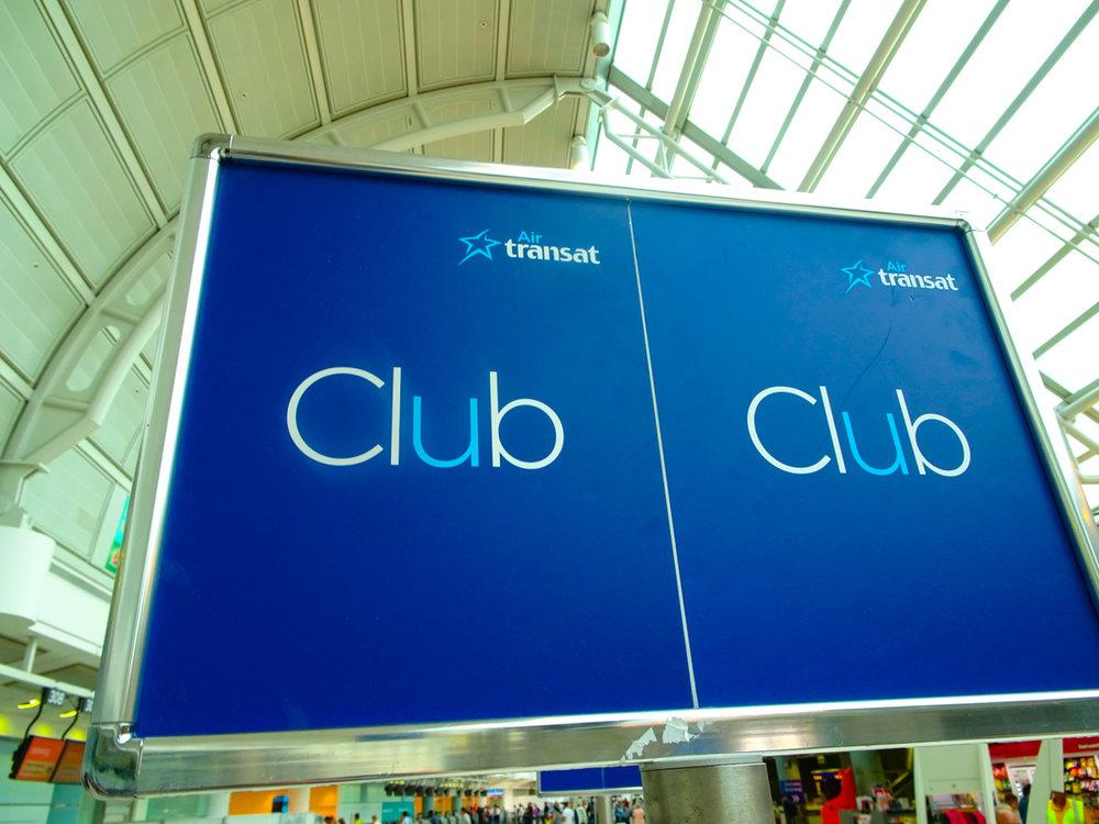 Club Class Check-In - Air Transat  Photo: Calvin Wood