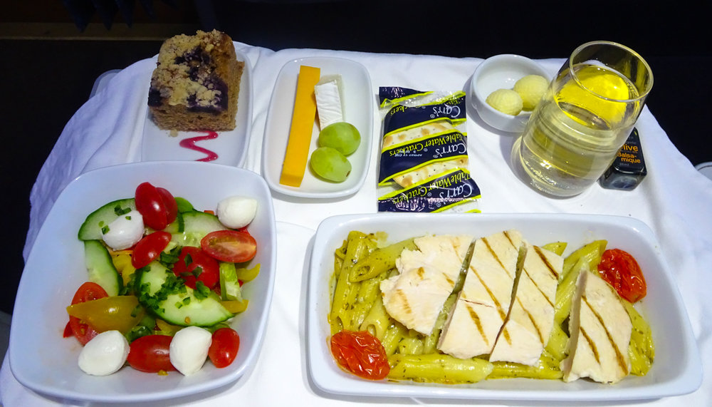 Lunch Service - Club Class Air Transat  Photo: Calvin Wood