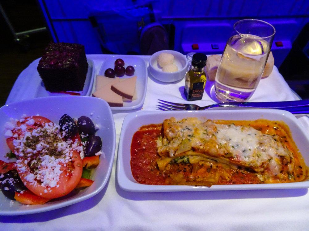 Dinner Service - Club Class Air Transat  Photo: Calvin Wood