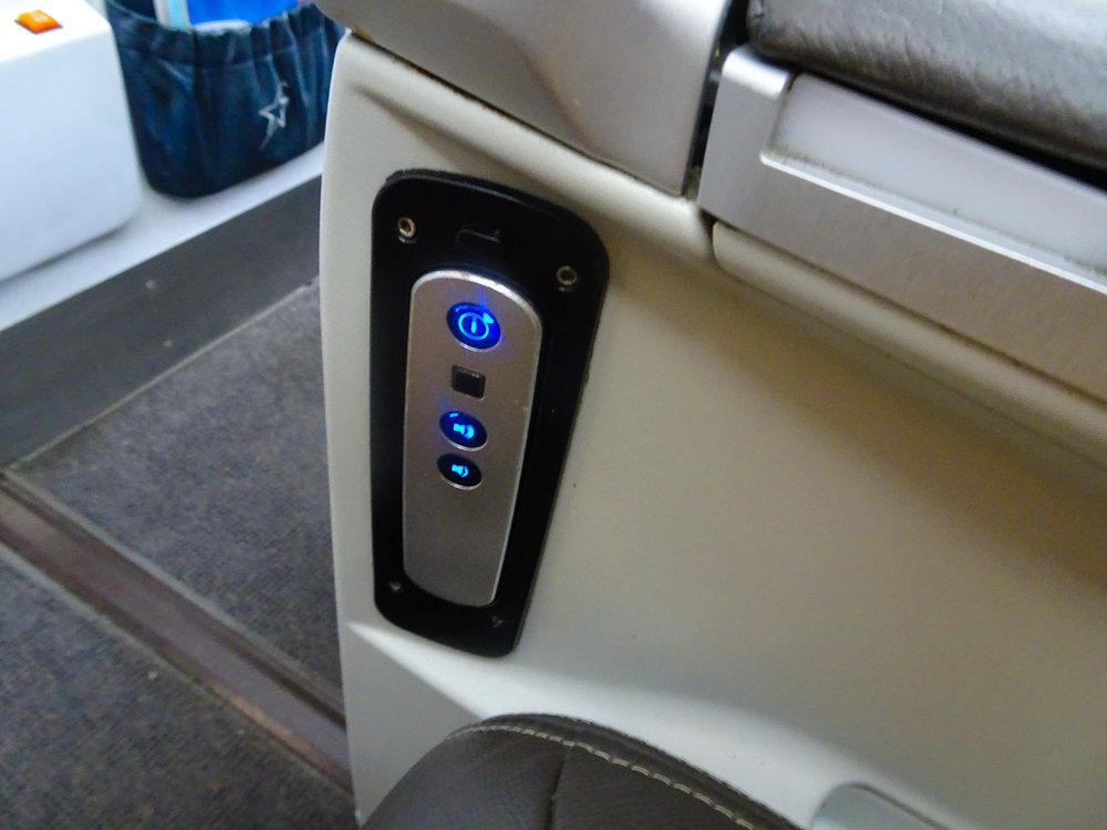Seat Controls - Club Class Air Transat  Photo: Calvin Wood