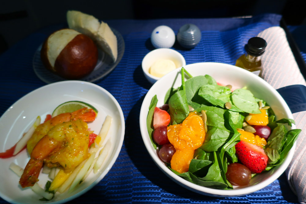 Appetizer and Salad - United Airlines Business Class
