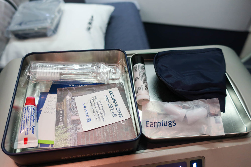 Amenity Kit Contents - United Transcontinental Business Class - Photo: Calvin Wood