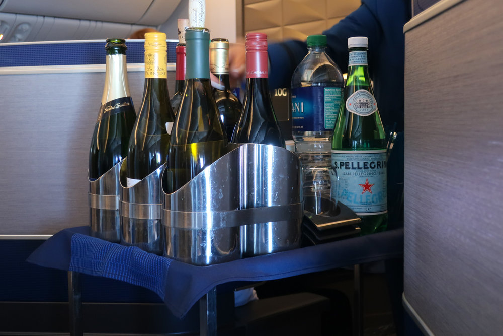 Wine Selection - United Airlines Polaris Business Class   Photo: Calvin Wood