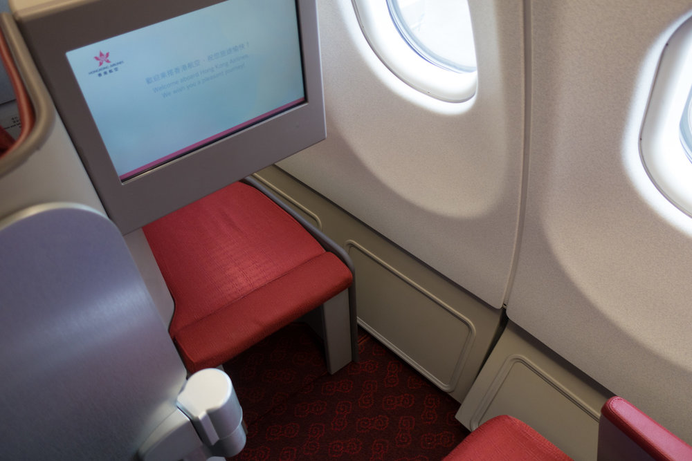 Foot Well - Lots of Space - Hong Kong Airlines Business Class A330   Photo: Calvin Wood