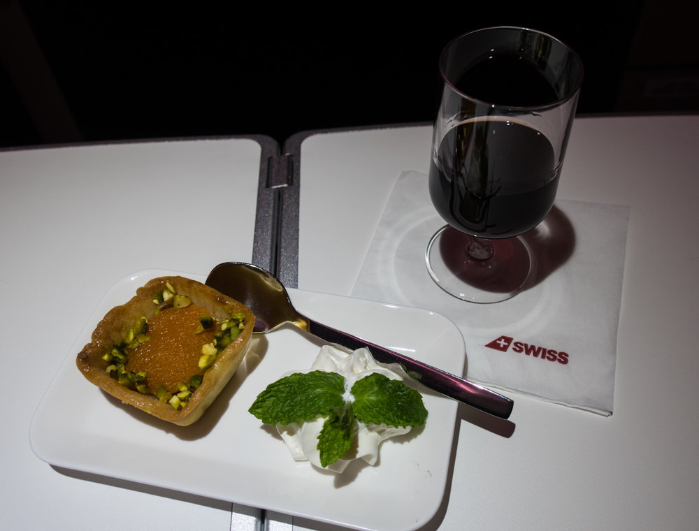 Dessert with Port!  Swiss Business Class A330    Photo: Calvin Wood