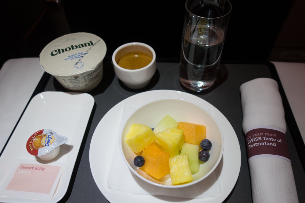 A healthy breakfast - Swiss Business Class A330    Photo: Calvin Wood